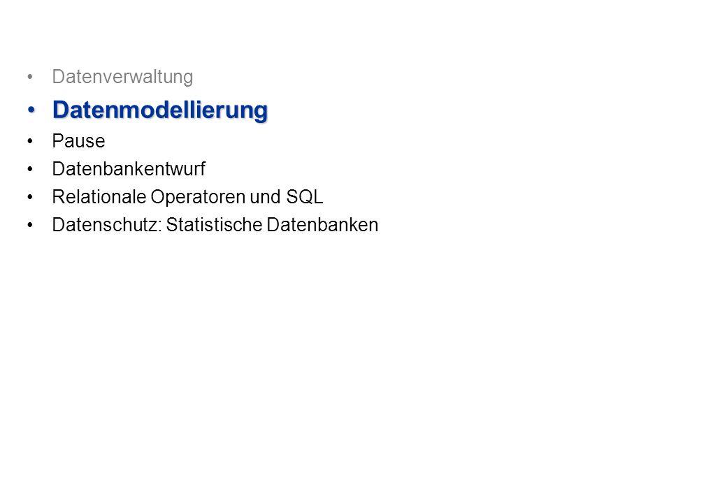 Datenverwaltung DatenmodellierungDatenmodellierung Pause Datenbankentwurf Relationale Operatoren und SQL Datenschutz: Statistische Datenbanken
