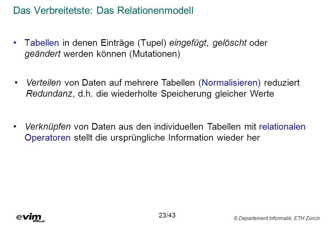 © Departement Informatik, ETH Zürich Das Verbreitetste: Das Relationenmodell Tabellen in denen Einträge (Tupel) eingefügt, gelöscht oder geändert werd