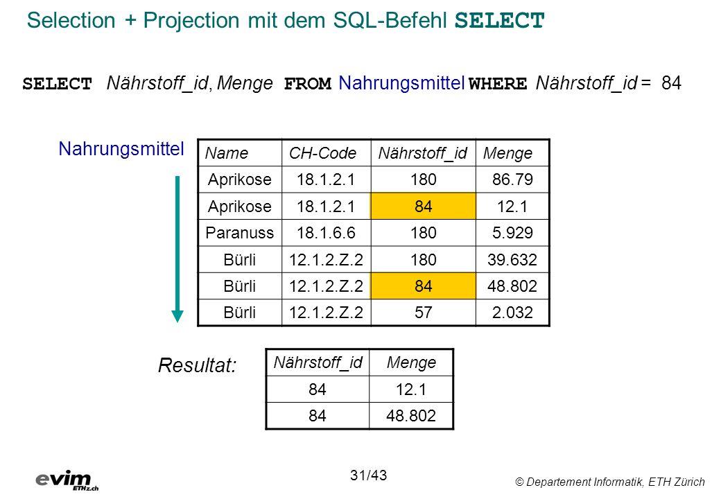 © Departement Informatik, ETH Zürich Selection + Projection mit dem SQL-Befehl SELECT SELECT Nährstoff_id, Menge FROM Nahrungsmittel WHERE Nährstoff_i