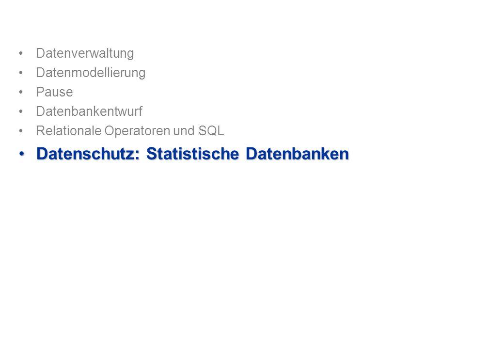 Datenverwaltung Datenmodellierung Pause Datenbankentwurf Relationale Operatoren und SQL Datenschutz: Statistische DatenbankenDatenschutz: Statistische