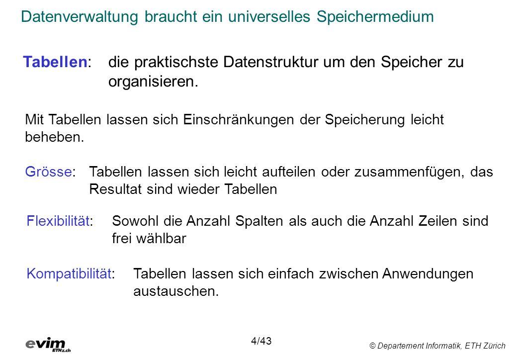 © Departement Informatik, ETH Zürich Datenverwaltung braucht ein universelles Speichermedium 4/43 Mit Tabellen lassen sich Einschränkungen der Speiche