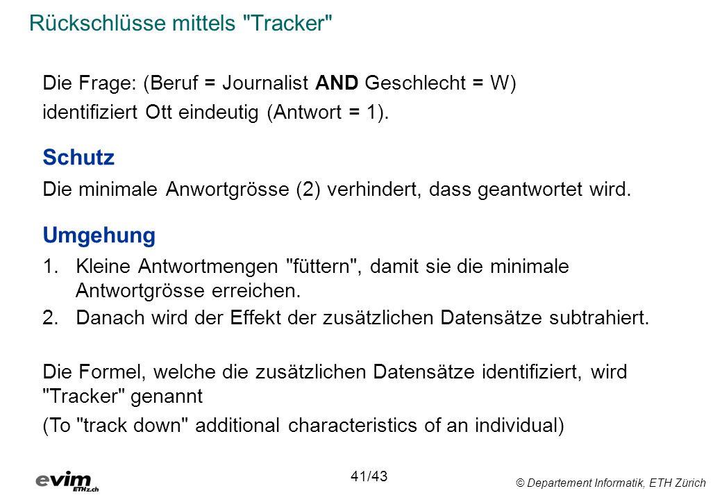 © Departement Informatik, ETH Zürich Rückschlüsse mittels
