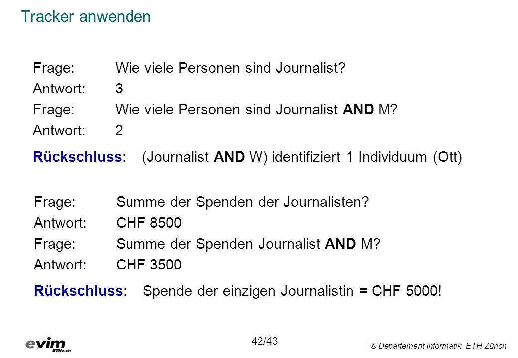 © Departement Informatik, ETH Zürich Tracker anwenden Frage:Wie viele Personen sind Journalist? Antwort:3 Frage: Wie viele Personen sind Journalist AN
