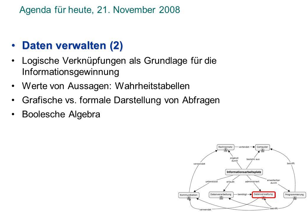 Daten verwalten (2)Daten verwalten (2) Logische Verknüpfungen als Grundlage für die Informationsgewinnung Werte von Aussagen: Wahrheitstabellen Grafis