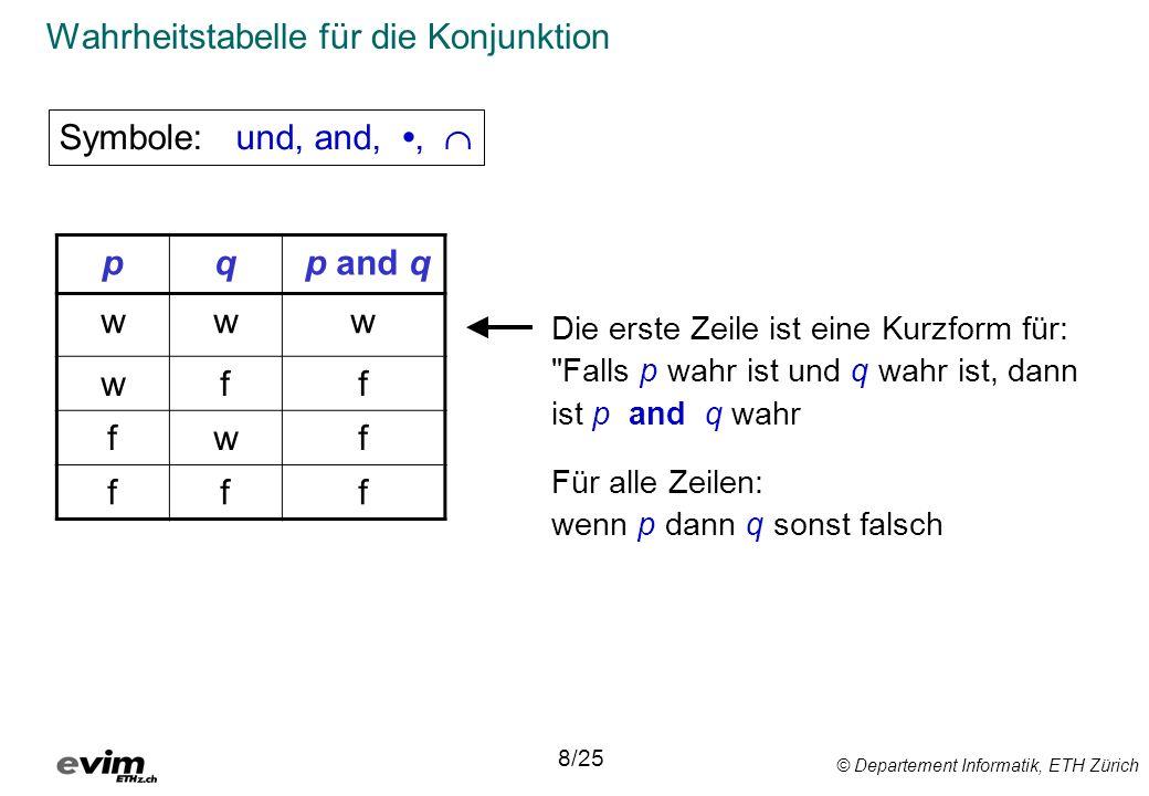 © Departement Informatik, ETH Zürich Wahrheitstabelle für die Konjunktion Die erste Zeile ist eine Kurzform für: