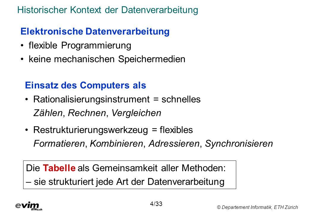 © Departement Informatik, ETH Zürich Die Tabelle als Organisationsprinzip 6/33 Speichermedium vereinfacht das Suchen das Sortieren unterstützt Zwischenspeicherung Programmierung