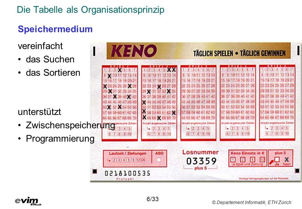 © Departement Informatik, ETH Zürich Buchungsvorgang mit verschalteten Tabellen 7/33