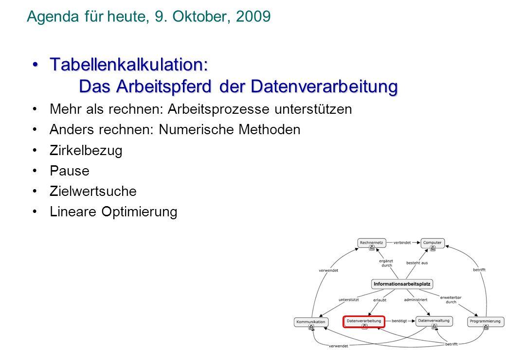 Agenda für heute, 9. Oktober, 2009 Tabellenkalkulation:Tabellenkalkulation: Das Arbeitspferd der Datenverarbeitung Mehr als rechnen: Arbeitsprozesse u