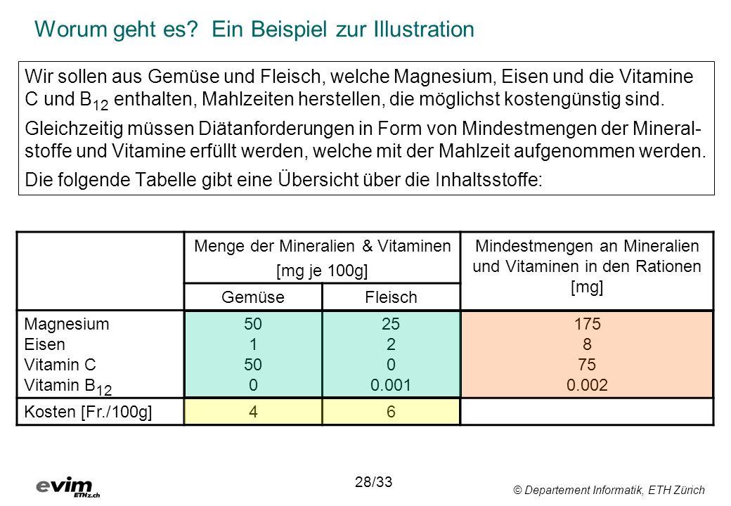 © Departement Informatik, ETH Zürich Worum geht es? Ein Beispiel zur Illustration Wir sollen aus Gemüse und Fleisch, welche Magnesium, Eisen und die V