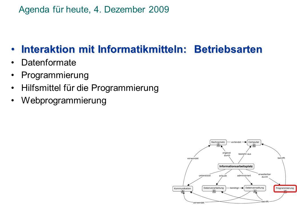 Interaktion mit Informatikmitteln: Betriebsarten Datenformate ProgrammierungProgrammierung Hilfsmittel für die Programmierung Webprogrammierung