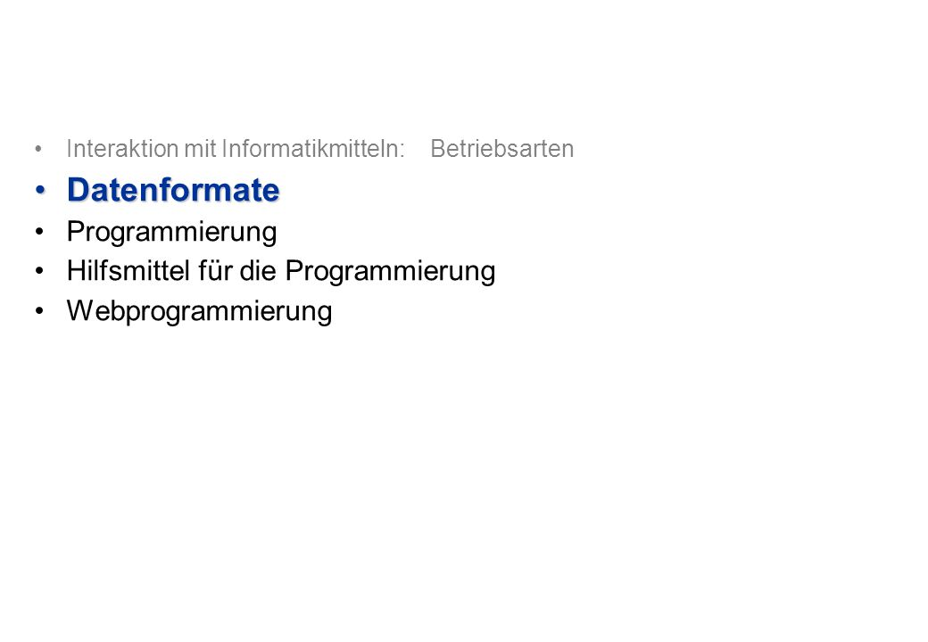 © Departement Informatik, ETH Zürich Datenformate: Dokumente Rich Text Format (RTF, Microsoft).