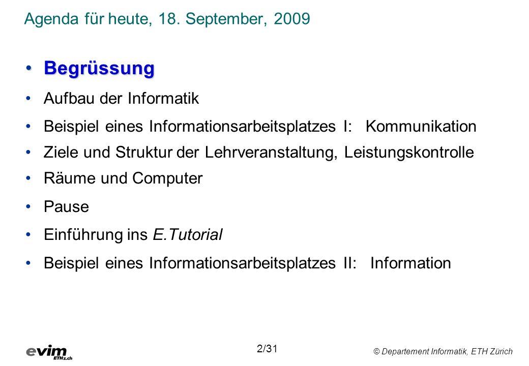 © Departement Informatik, ETH Zürich Agenda für heute, 18. September, 2009 BegrüssungBegrüssung Aufbau der Informatik Beispiel eines Informationsarbei