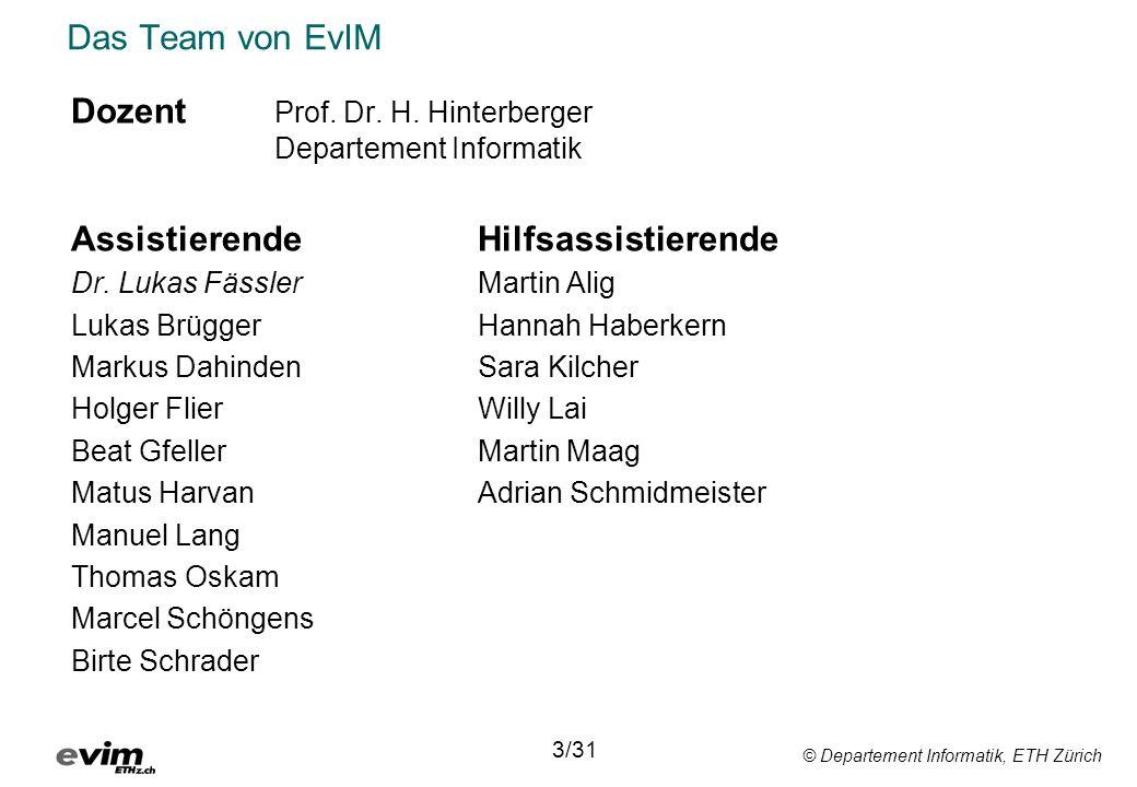 © Departement Informatik, ETH Zürich Das Team von EvIM Dozent Prof. Dr. H. Hinterberger Departement Informatik AssistierendeHilfsassistierende Dr. Luk