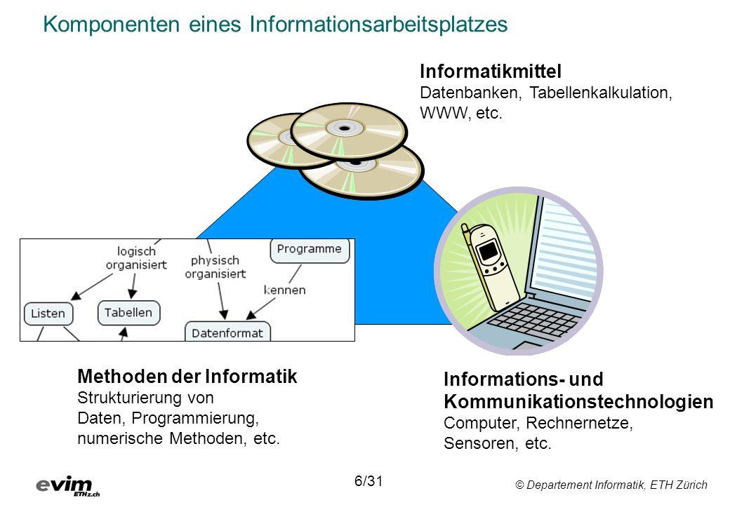 © Departement Informatik, ETH Zürich Komponenten eines Informationsarbeitsplatzes Informatikmittel Datenbanken, Tabellenkalkulation, WWW, etc. Informa
