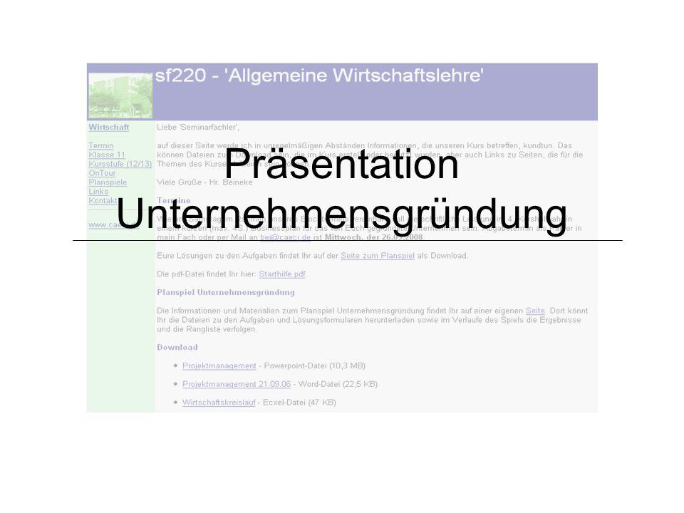 Präsentation Unternehmensgründung