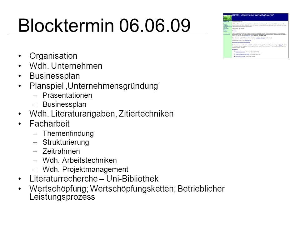 Blocktermin 06.06.09 Organisation Wdh. Unternehmen Businessplan Planspiel Unternehmensgründung –Präsentationen –Businessplan Wdh. Literaturangaben, Zi