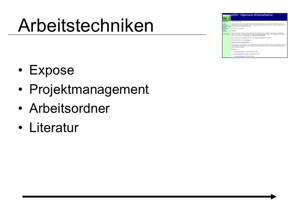 Arbeitstechniken Expose Projektmanagement Arbeitsordner Literatur