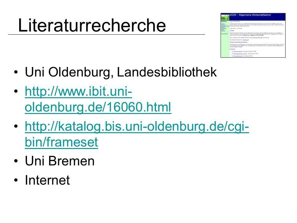 Uni Oldenburg, Landesbibliothek http://www.ibit.uni- oldenburg.de/16060.htmlhttp://www.ibit.uni- oldenburg.de/16060.html http://katalog.bis.uni-oldenb