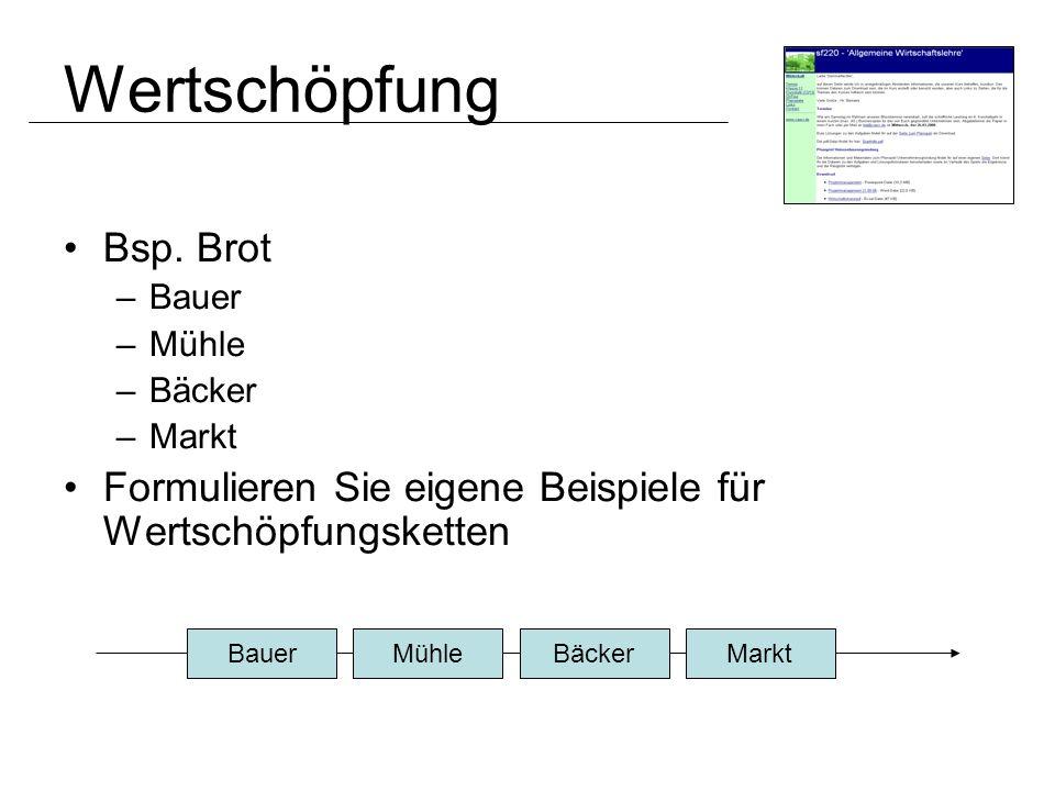 Wertschöpfung Bsp. Brot –Bauer –Mühle –Bäcker –Markt Formulieren Sie eigene Beispiele für Wertschöpfungsketten BauerMühleBäckerMarkt