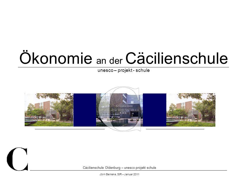 Cäcilienschule Oldenburg – unesco projekt schule Jörn Beineke, StR – Januar 2011 Ökonomie an der Cäcilienschule unesco – projekt - schule