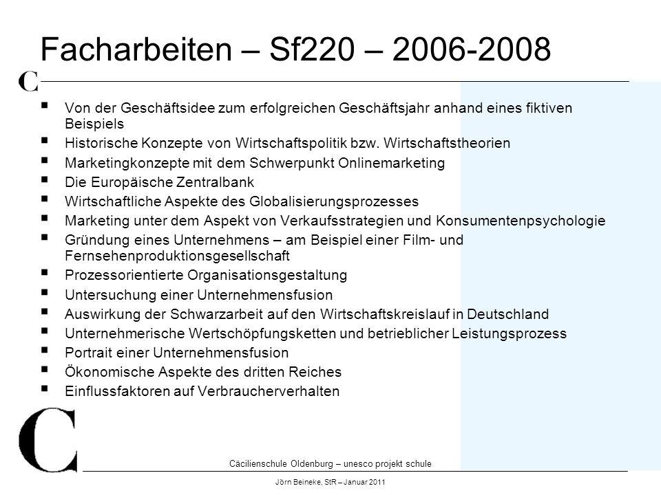 Cäcilienschule Oldenburg – unesco projekt schule Jörn Beineke, StR – Januar 2011 Facharbeiten – Sf220 – 2006-2008 Von der Geschäftsidee zum erfolgreic