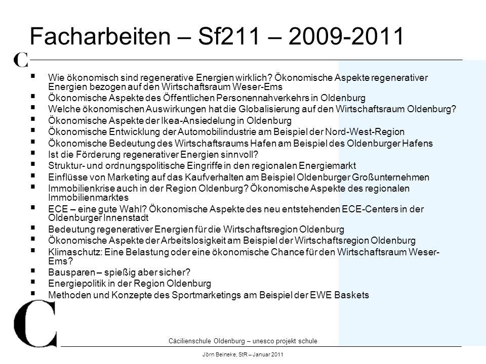 Cäcilienschule Oldenburg – unesco projekt schule Jörn Beineke, StR – Januar 2011 Facharbeiten – Sf211 – 2009-2011 Wie ökonomisch sind regenerative Ene
