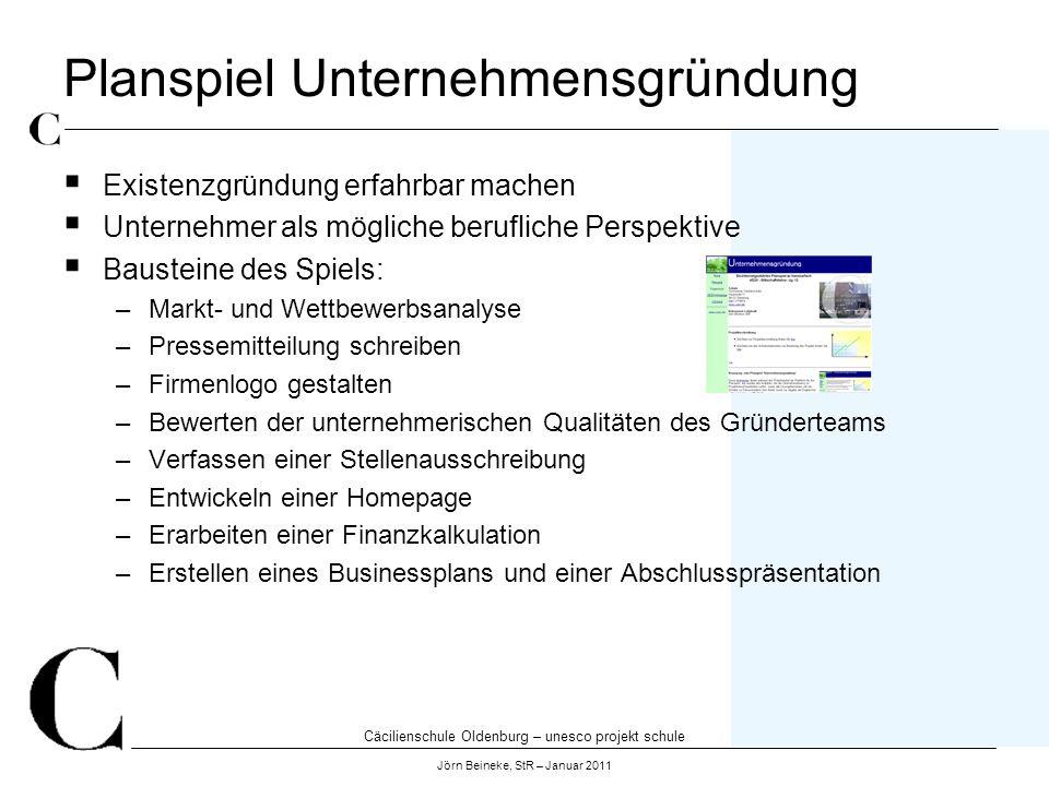 Cäcilienschule Oldenburg – unesco projekt schule Jörn Beineke, StR – Januar 2011 Planspiel Unternehmensgründung Existenzgründung erfahrbar machen Unte