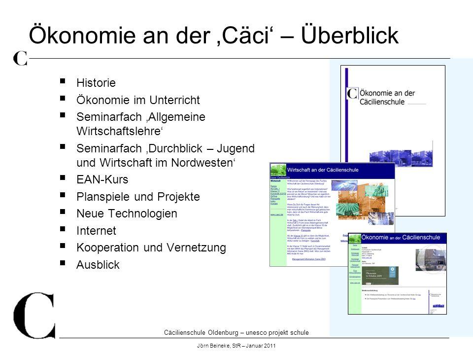 Cäcilienschule Oldenburg – unesco projekt schule Jörn Beineke, StR – Januar 2011 Ökonomie an der Cäci – Überblick Historie Ökonomie im Unterricht Semi
