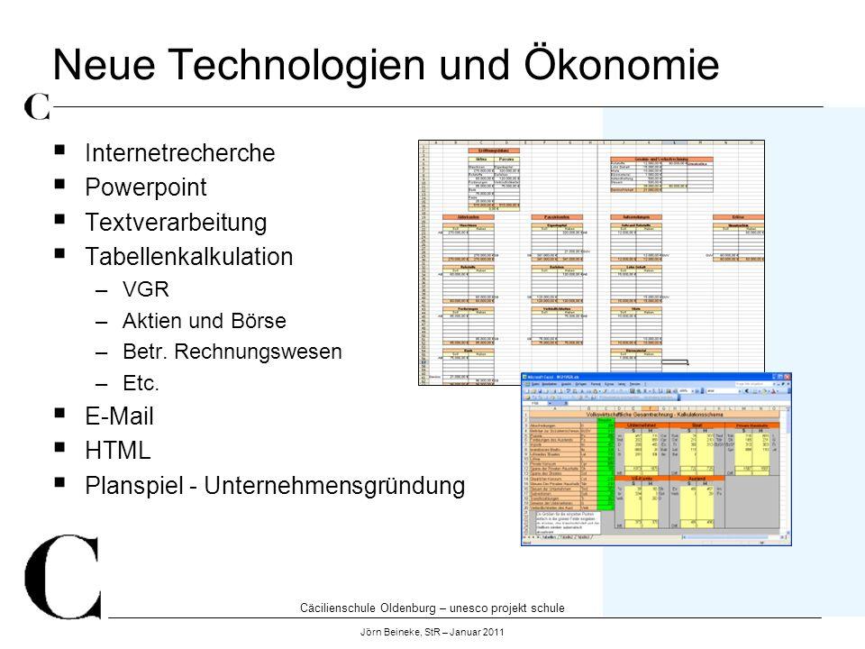 Cäcilienschule Oldenburg – unesco projekt schule Jörn Beineke, StR – Januar 2011 Neue Technologien und Ökonomie Internetrecherche Powerpoint Textverar