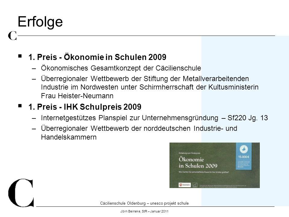 Cäcilienschule Oldenburg – unesco projekt schule Jörn Beineke, StR – Januar 2011 Erfolge 1. Preis - Ökonomie in Schulen 2009 –Ökonomisches Gesamtkonze