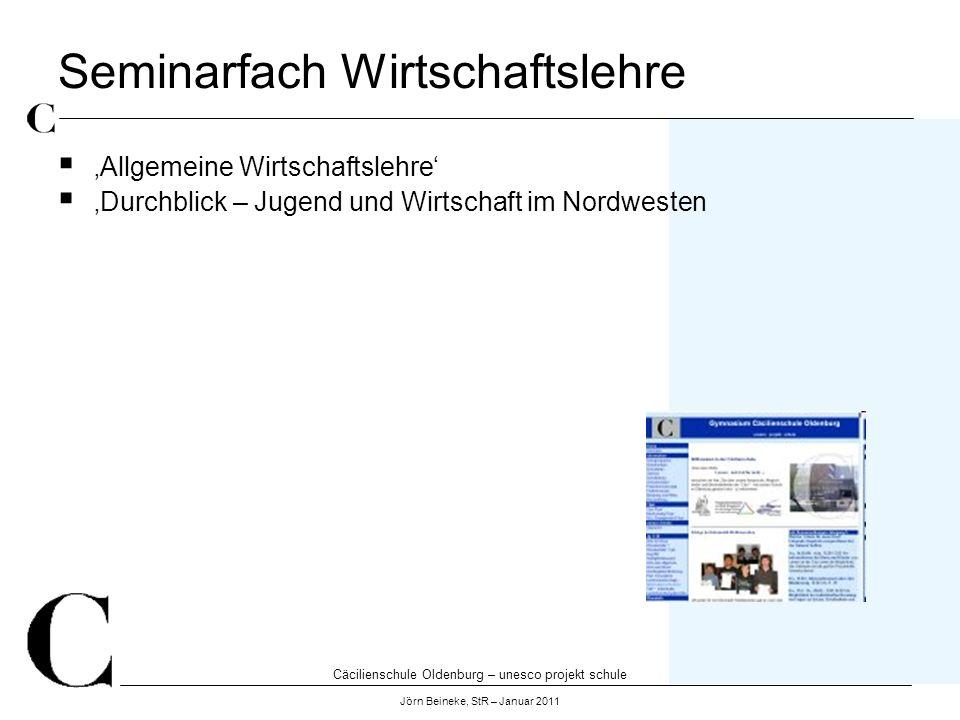 Cäcilienschule Oldenburg – unesco projekt schule Jörn Beineke, StR – Januar 2011 Seminarfach Wirtschaftslehre Allgemeine Wirtschaftslehre Durchblick –