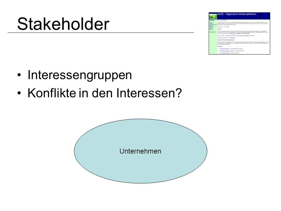 Stakeholder Interessengruppen Konflikte in den Interessen? Unternehmen