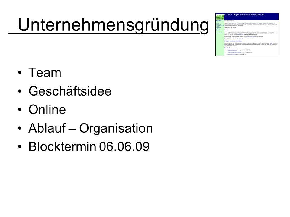 Team Geschäftsidee Online Ablauf – Organisation Blocktermin 06.06.09