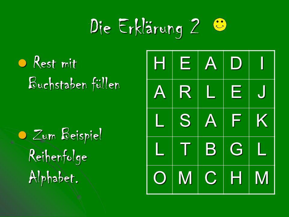 Die Erklärung 2 Rest mit Buchstaben füllen Rest mit Buchstaben füllen Zum Beispiel Reihenfolge Alphabet.