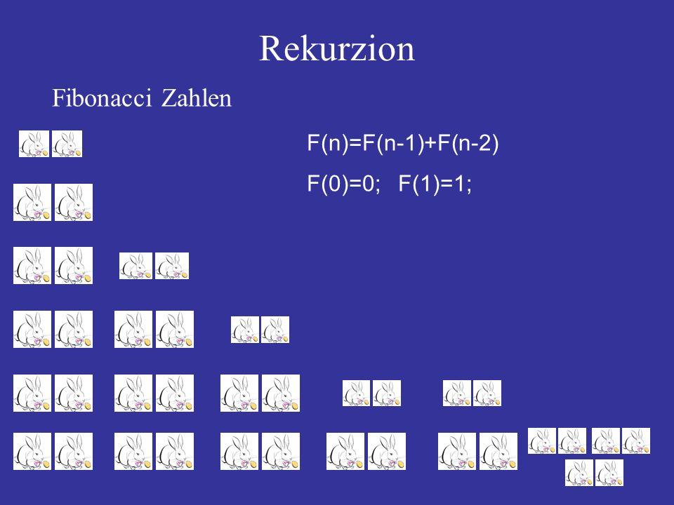 Rekurzion Fibonacci Zahlen F(n)=F(n-1)+F(n-2) F(0)=0; F(1)=1;