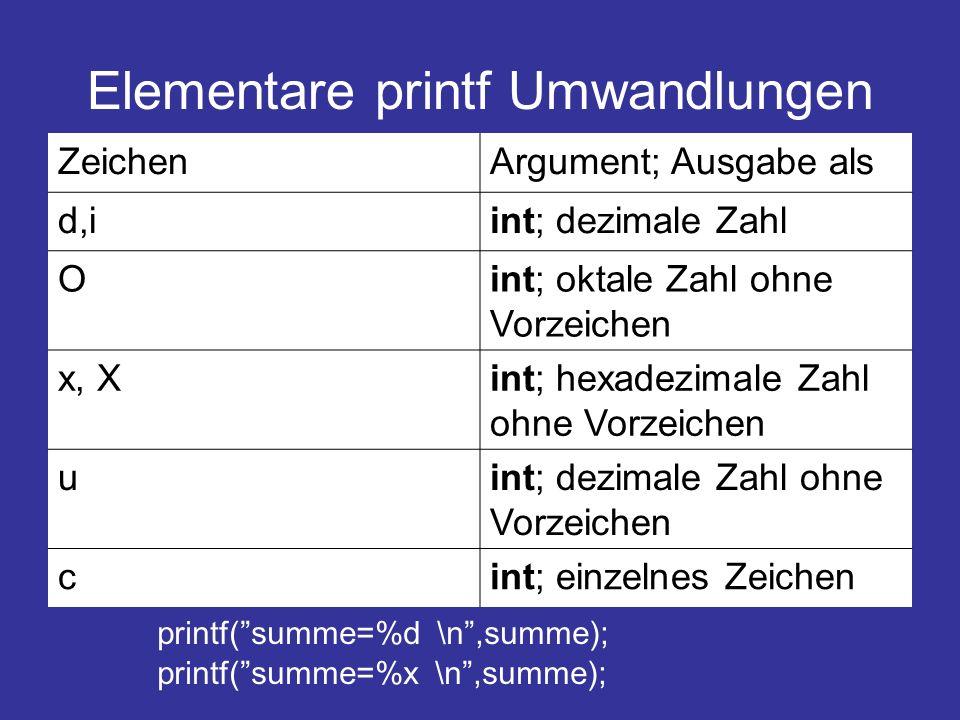 Elementare printf Umwandlungen ZeichenArgument; Ausgabe als d,iint; dezimale Zahl Oint; oktale Zahl ohne Vorzeichen x, Xint; hexadezimale Zahl ohne Vo