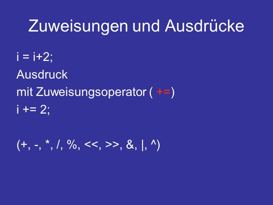 Zuweisungen und Ausdrücke i = i+2; Ausdruck mit Zuweisungsoperator ( +=) i += 2; (+, -, *, /, %, >, &, |, ^)