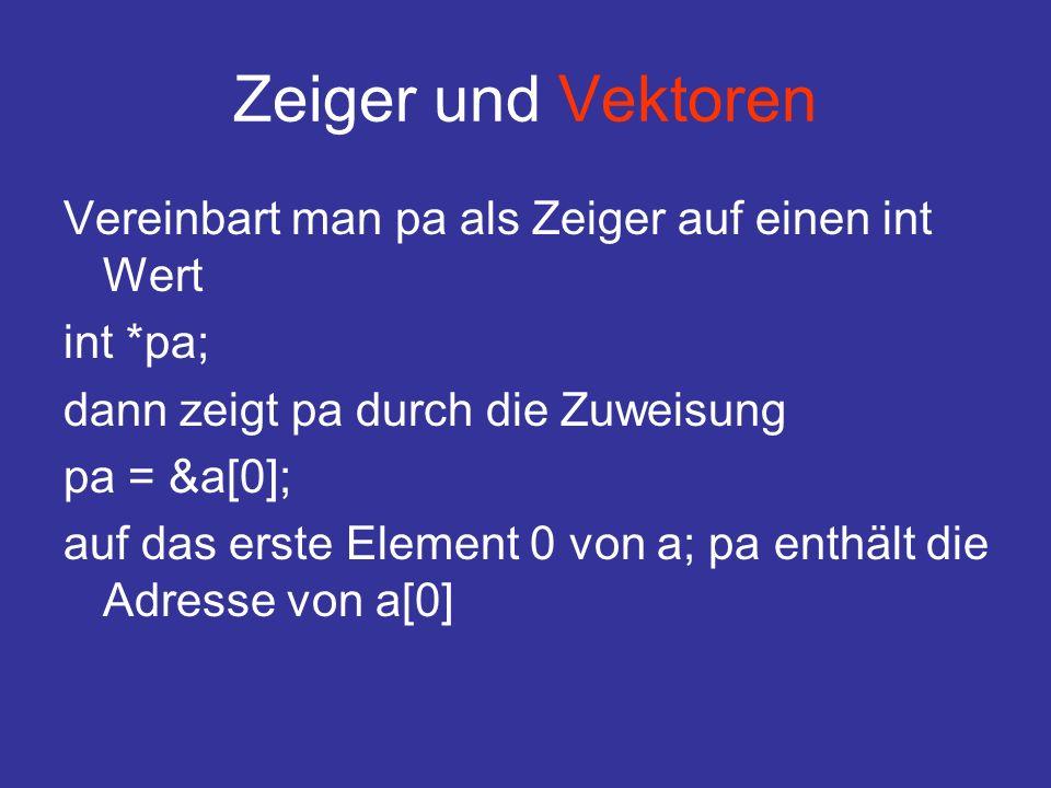 Zeiger und Vektoren Vereinbart man pa als Zeiger auf einen int Wert int *pa; dann zeigt pa durch die Zuweisung pa = &a[0]; auf das erste Element 0 von