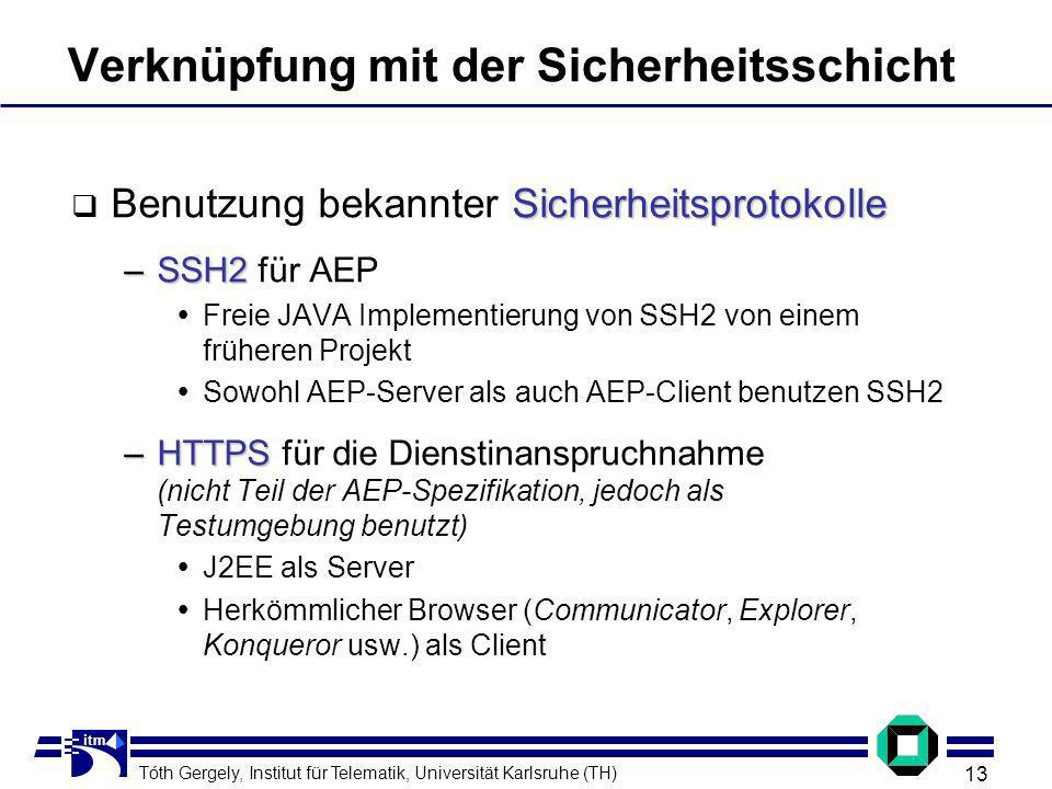 Tóth Gergely, Institut für Telematik, Universität Karlsruhe (TH) 13 itm Verknüpfung mit der Sicherheitsschicht Sicherheitsprotokolle Benutzung bekannter Sicherheitsprotokolle –SSH2 –SSH2 für AEP Freie JAVA Implementierung von SSH2 von einem früheren Projekt Sowohl AEP-Server als auch AEP-Client benutzen SSH2 –HTTPS –HTTPS für die Dienstinanspruchnahme (nicht Teil der AEP-Spezifikation, jedoch als Testumgebung benutzt) J2EE als Server Herkömmlicher Browser (Communicator, Explorer, Konqueror usw.) als Client