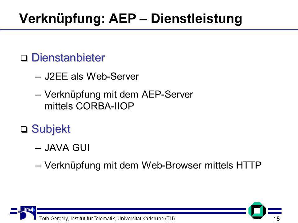 Tóth Gergely, Institut für Telematik, Universität Karlsruhe (TH) 15 itm Verknüpfung: AEP – Dienstleistung Dienstanbieter Dienstanbieter –J2EE als Web-Server –Verknüpfung mit dem AEP-Server mittels CORBA-IIOP Subjekt Subjekt –JAVA GUI –Verknüpfung mit dem Web-Browser mittels HTTP