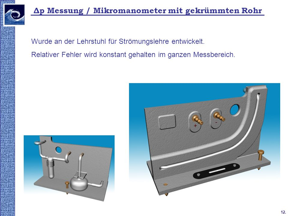 12. 2009. tavasz Δp Messung / Mikromanometer mit gekrümmten Rohr Wurde an der Lehrstuhl für Strömungslehre entwickelt. Relativer Fehler wird konstant