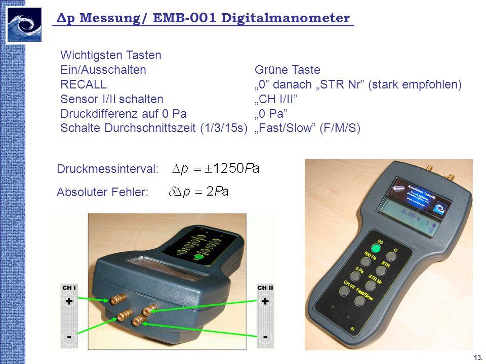 13. Δp Messung/ EMB-001 Digitalmanometer Wichtigsten Tasten Ein/Ausschalten Grüne Taste RECALL0 danach STR Nr (stark empfohlen) Sensor I/II schalten C