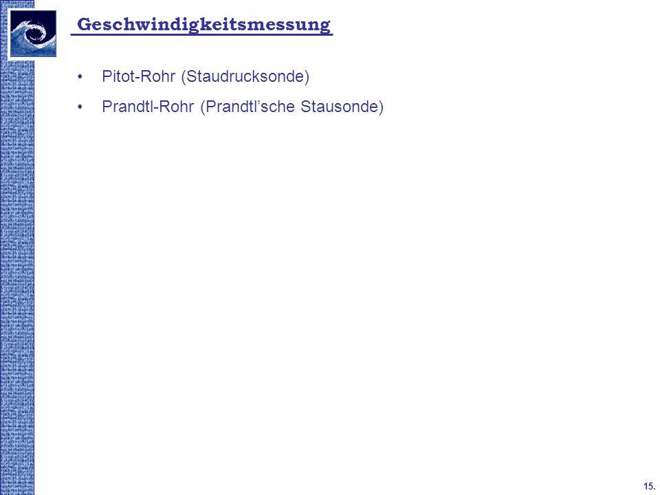 15. 2009. tavasz Geschwindigkeitsmessung Pitot-Rohr (Staudrucksonde) Prandtl-Rohr (Prandtlsche Stausonde)