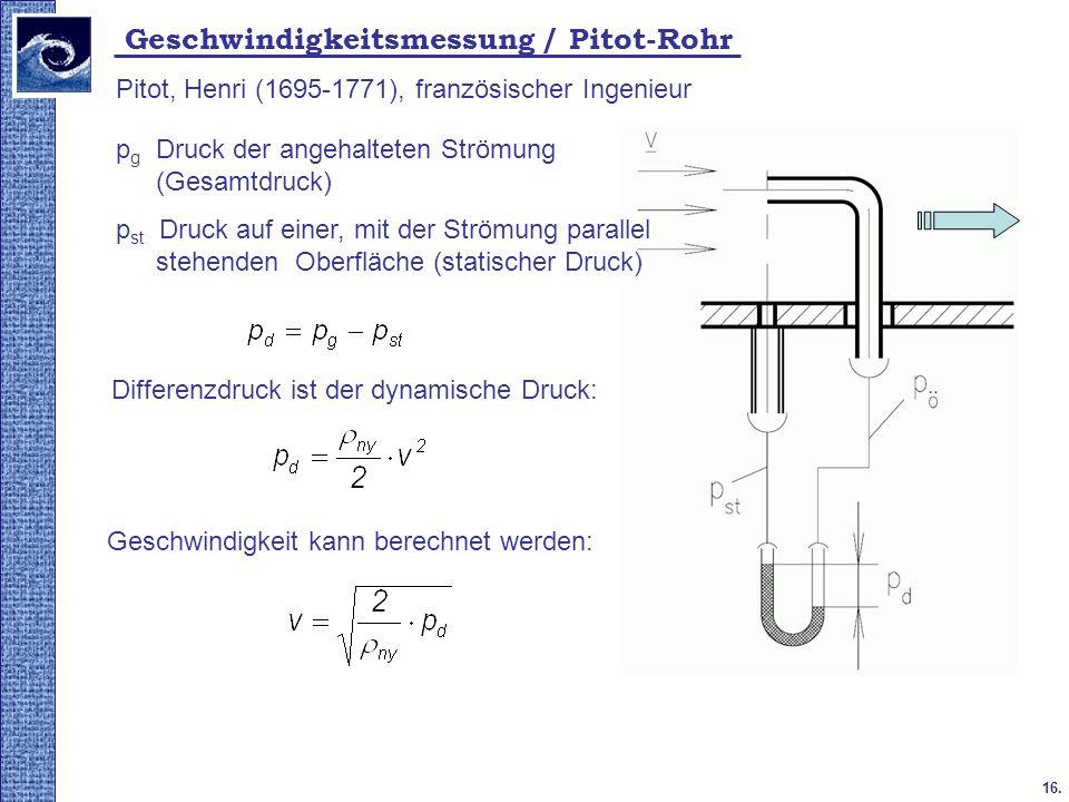 16. 2009. tavasz Geschwindigkeitsmessung / Pitot-Rohr Pitot, Henri (1695-1771), französischer Ingenieur Differenzdruck ist der dynamische Druck: p g D