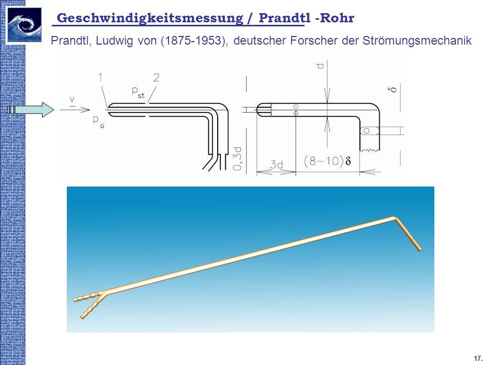 17. 2009. tavasz Geschwindigkeitsmessung / Prandtl -Rohr Prandtl, Ludwig von (1875-1953), deutscher Forscher der Strömungsmechanik