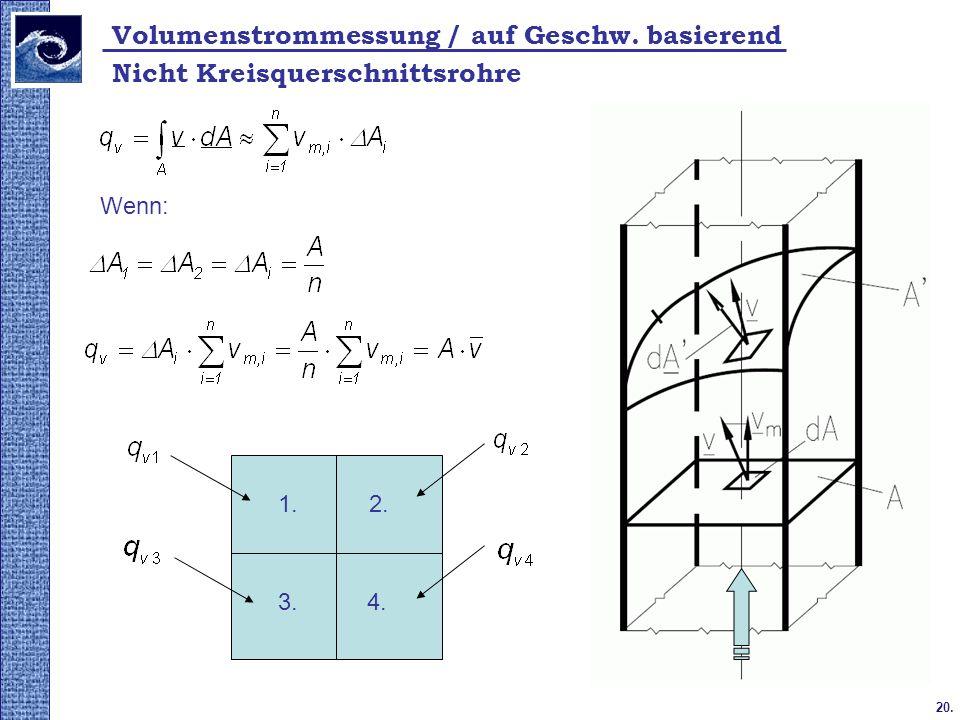 20. Volumenstrommessung / auf Geschw. basierend Nicht Kreisquerschnittsrohre Wenn: 1.2. 3.4.