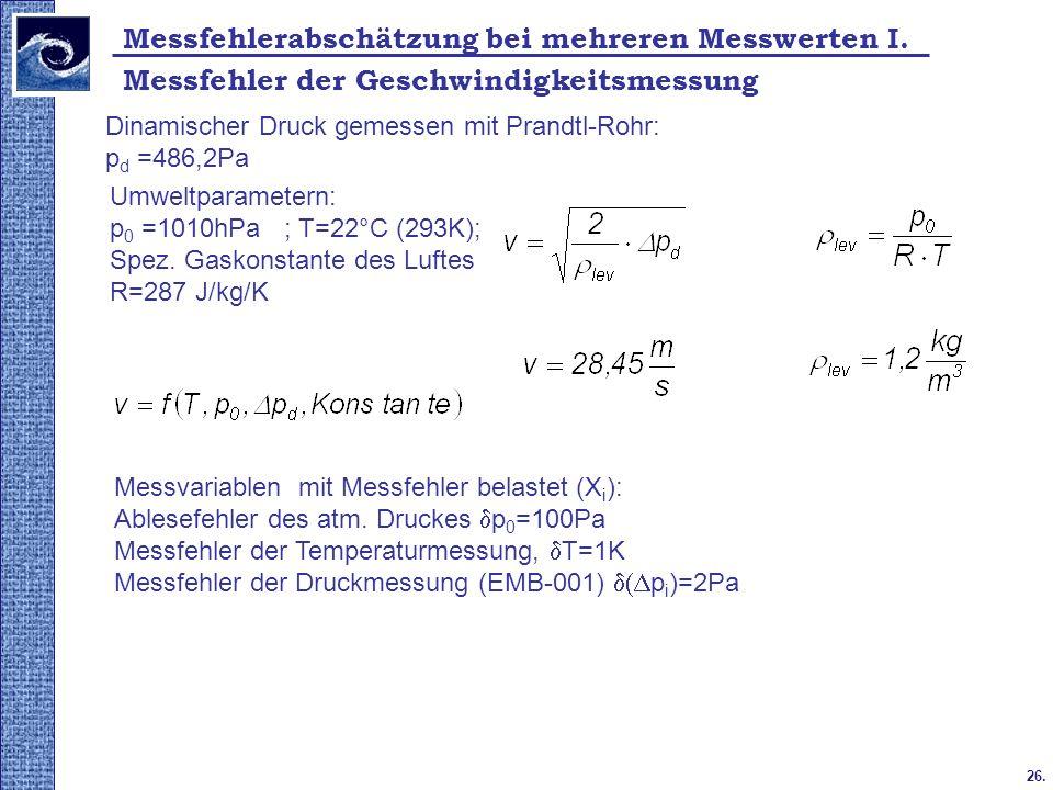 26. Messfehlerabschätzung bei mehreren Messwerten I. Messfehler der Geschwindigkeitsmessung Dinamischer Druck gemessen mit Prandtl-Rohr: p d =486,2Pa
