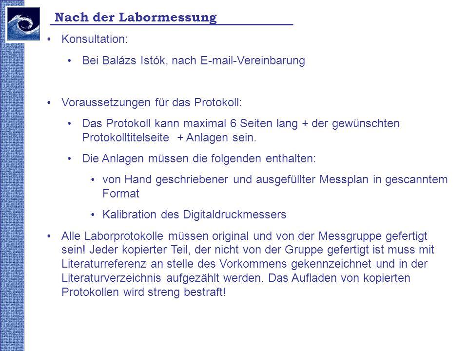 Nach der Labormessung Konsultation: Bei Balázs Istók, nach E-mail-Vereinbarung Voraussetzungen für das Protokoll: Das Protokoll kann maximal 6 Seiten