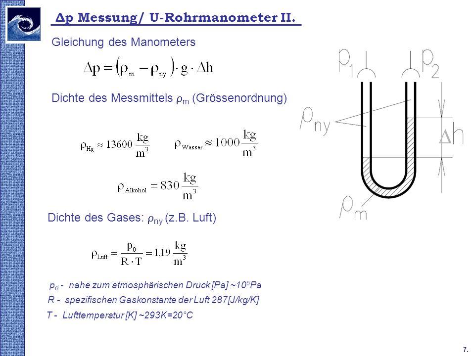 7. Δp Messung/ U-Rohrmanometer II. Dichte des Messmittels m (Grössenordnung) Gleichung des Manometers Dichte des Gases: ny (z.B. Luft) p 0 - nahe zum