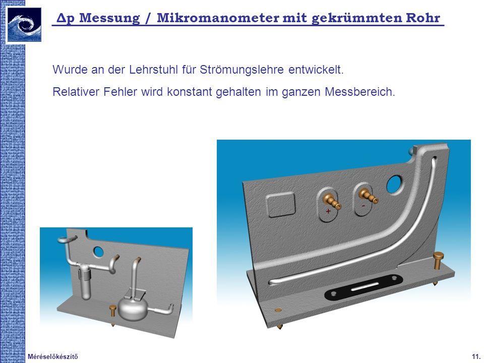 11.Méréselőkészítő 2009. tavasz Δp Messung / Mikromanometer mit gekrümmten Rohr Wurde an der Lehrstuhl für Strömungslehre entwickelt. Relativer Fehler
